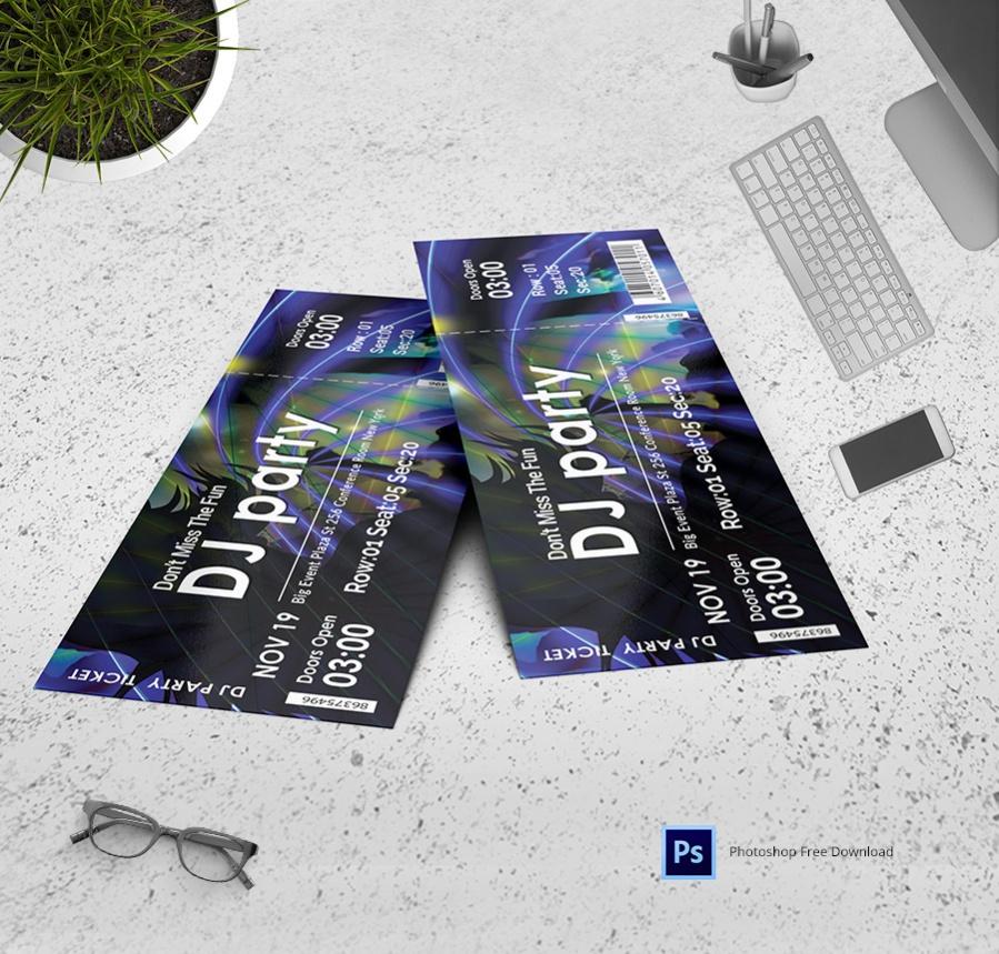 Fantasy Dj Party Ticket Invitation