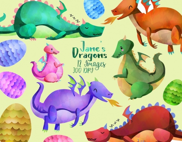 Fantasy Dragon Outline Clipart