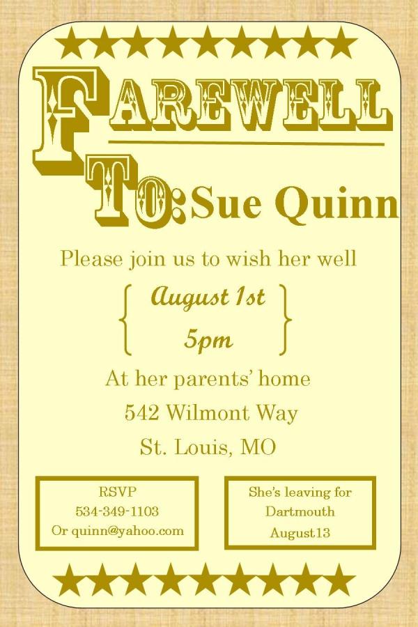 Farewell PSD Design Invitation
