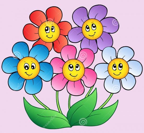 Five Cartoon Floral Clip art
