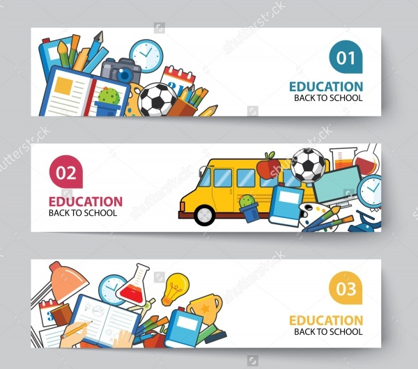 Flat Education & School Banner