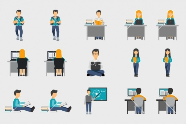 Flat Student Vector Icons