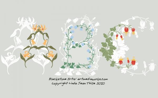 Floral Typographic Ornamental Vector