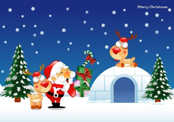 Free Christmas Cartoon Wallpaper