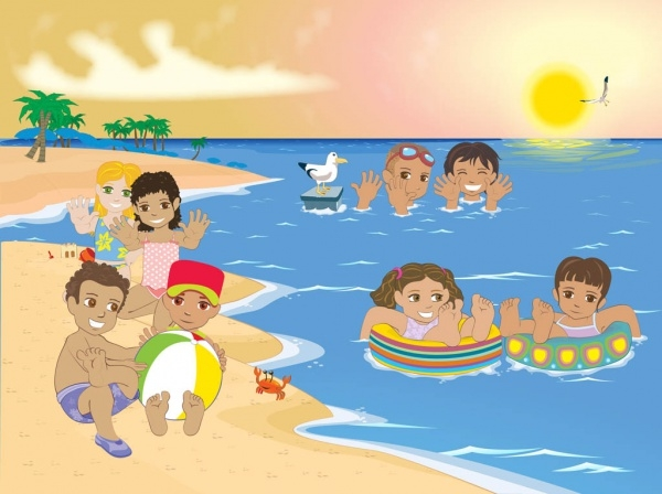 Free Kids Cartoons at Beach