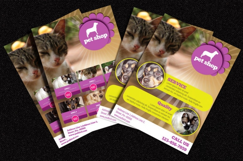 free pets shop brochure template