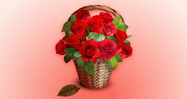 Free Vector Roses Basket