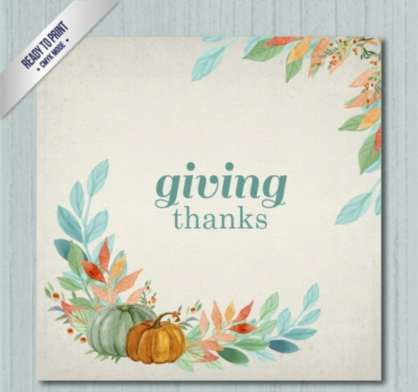 Free Watercolor Thanksgiving Card