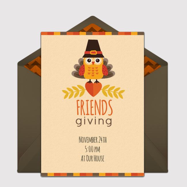 Friendsgiving Owl Party Invitation