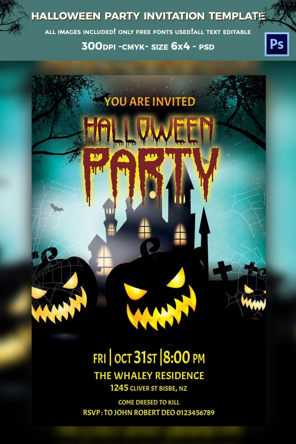 Fully Customized Halloween Party Invitation
