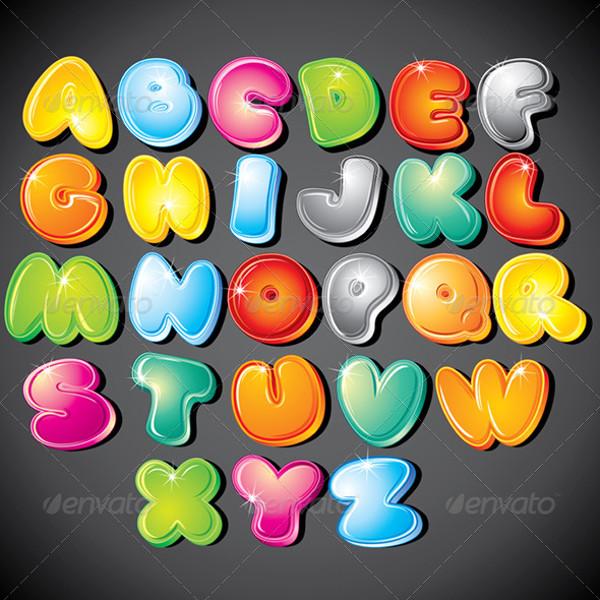 Funny Alphabet Cartoon Clipart