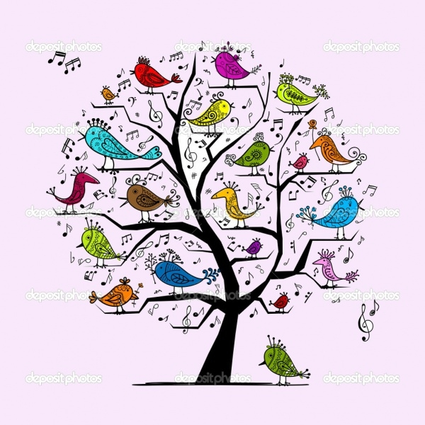 Funny Tree Music Clipart