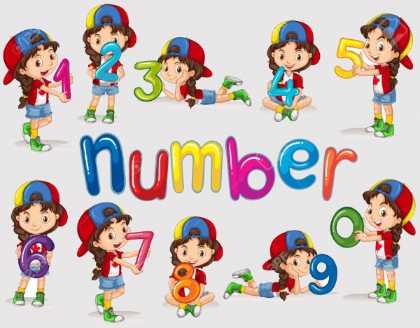 Girl & Numbers Zero to Nine Clipart