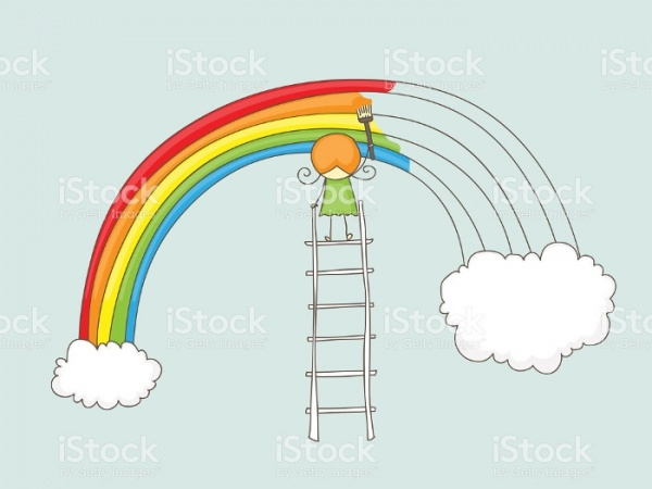 Girl painting rainbow Clipart