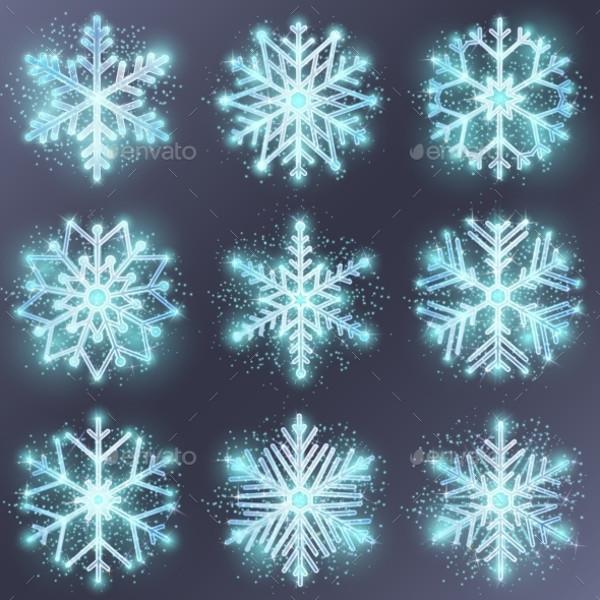 Glitter Snowflake Vector