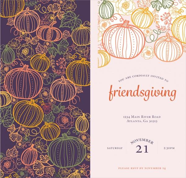 Gold Design Friendsgiving Invitation