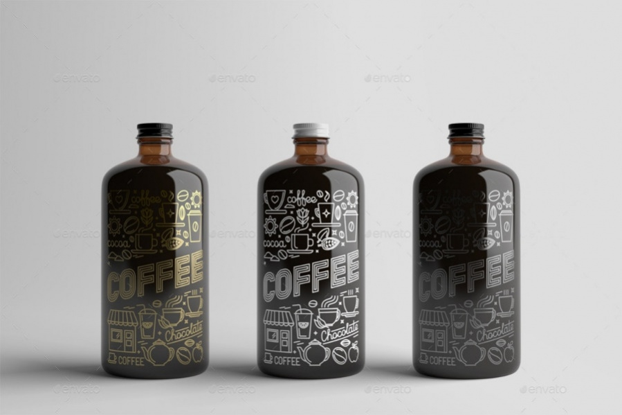 Gold Foil Coffee Bottle Packaging