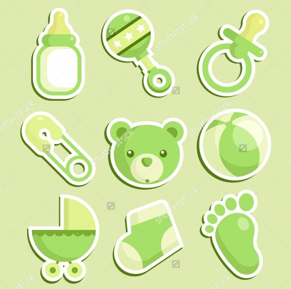 Green Baby Girl Shower Icons