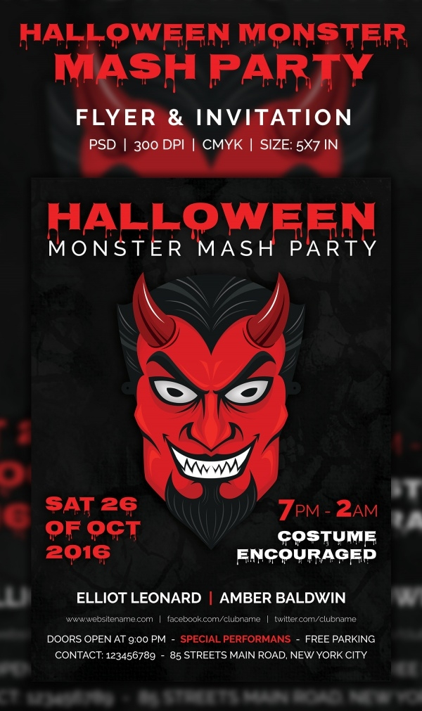 Halloween Monster Mash party Flyer