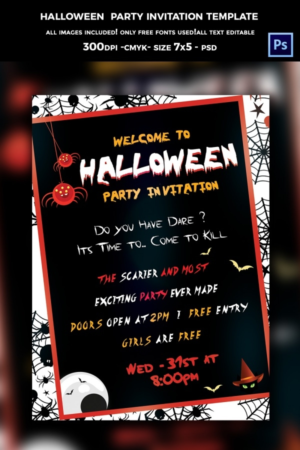 Highly Editable Halloween Invite Design