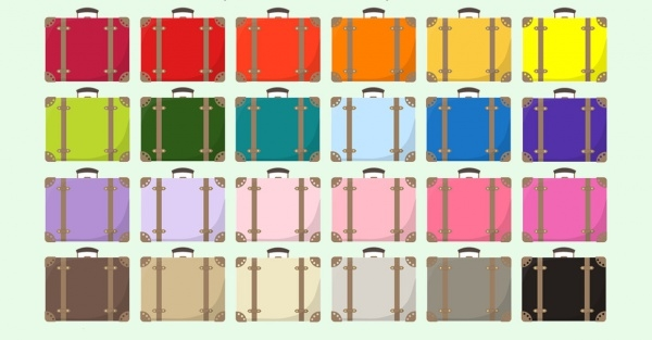 Hand Drawn Rainbow Luggage Clipart