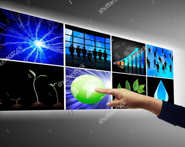 hand touchscreen powerpoint multimedia presentation