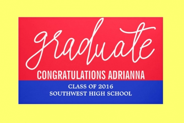 Handwritten Congratulations Red Blue Banner