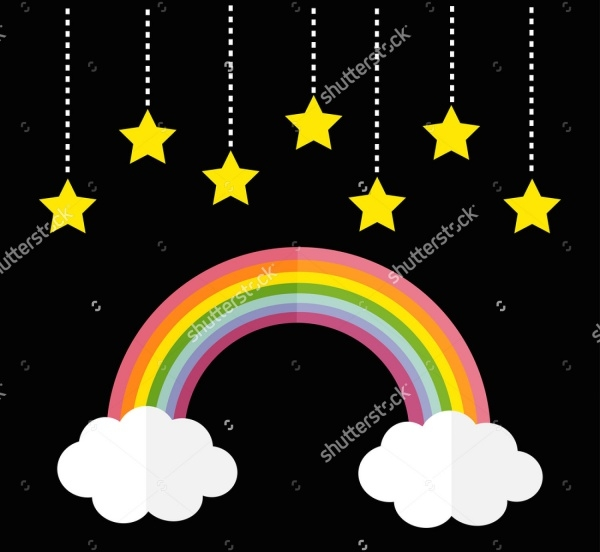 Hanging Stars Rainbow Clipart Design