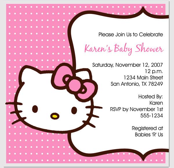 Beautiful Hello Kitty Baby Shower Invitations