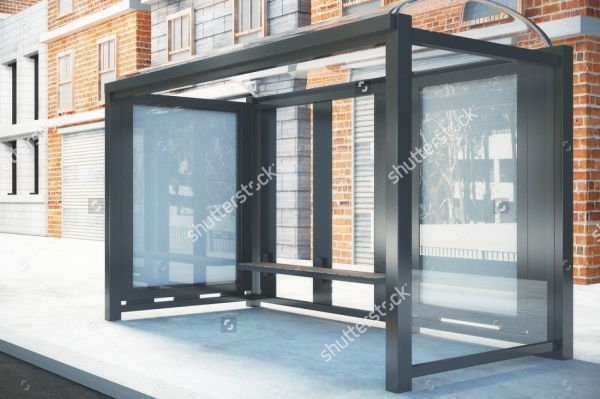 High Quality Bus Stop Outdoor Mockup