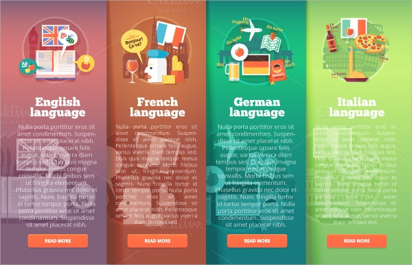 High Resolution Education Language banners