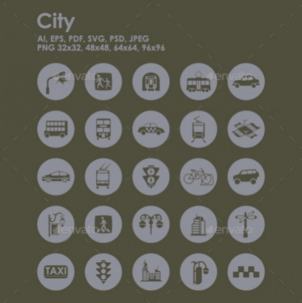 Highly Editable City Icons