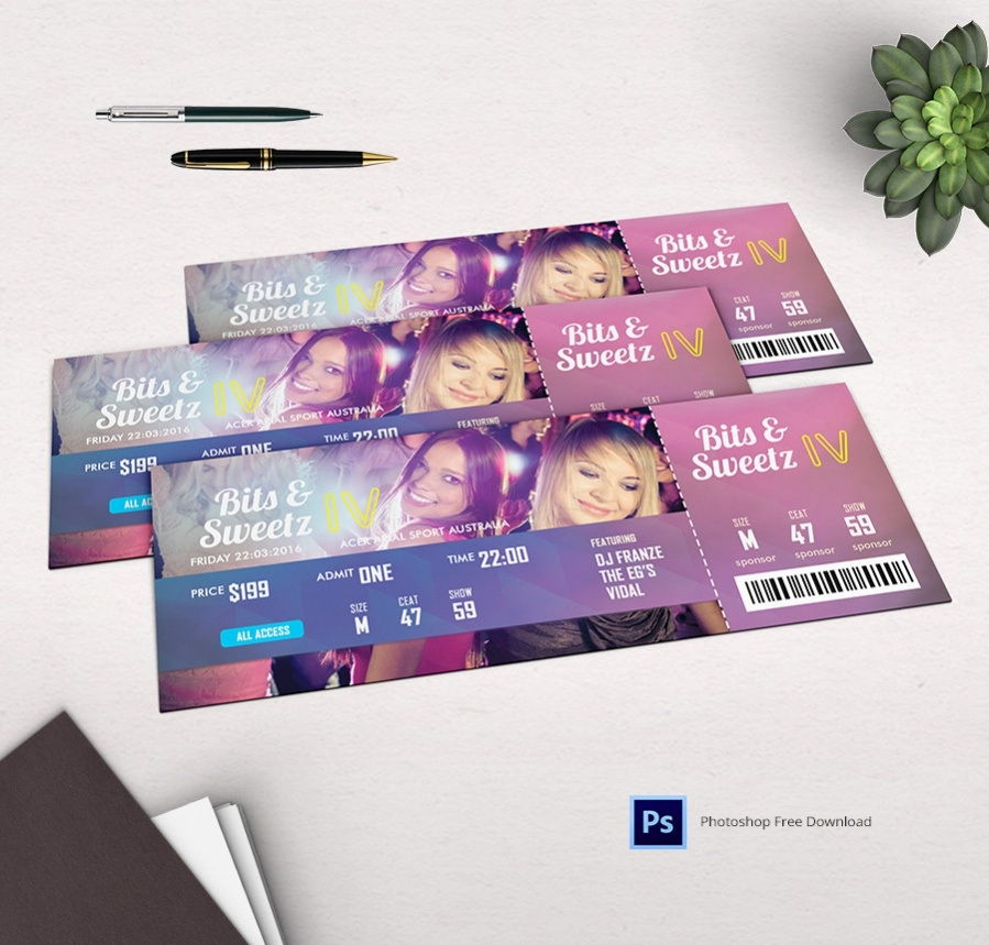 Highly Editable Disco Party Ticket Template