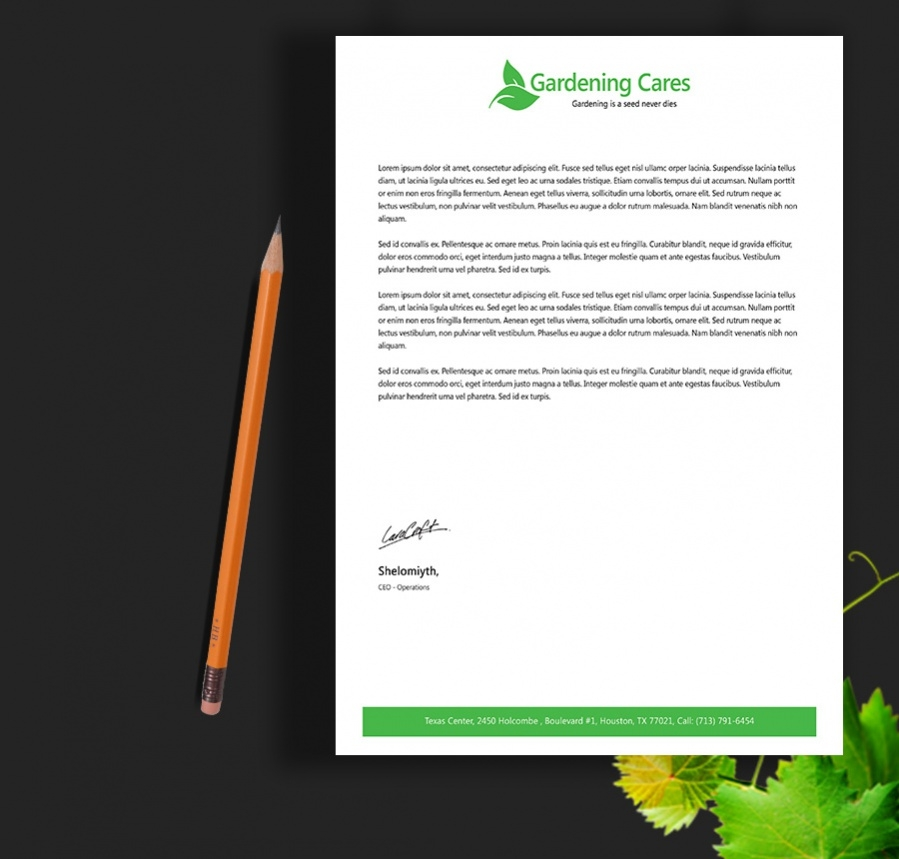 home gardening services letterhead template