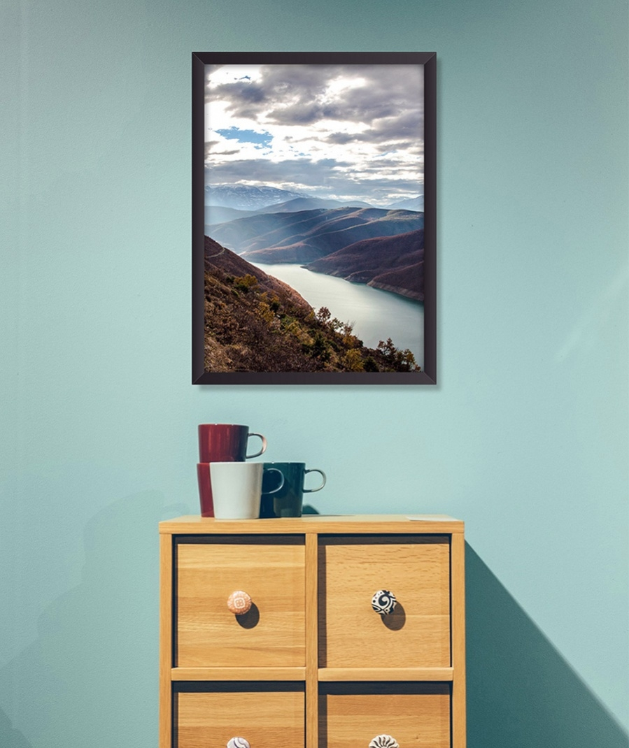 horizontal framed poster mockup