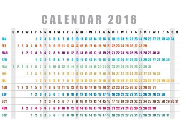 Horizontal Yearly Calendar 2016