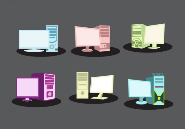 Isolated Computer Desktop Vector