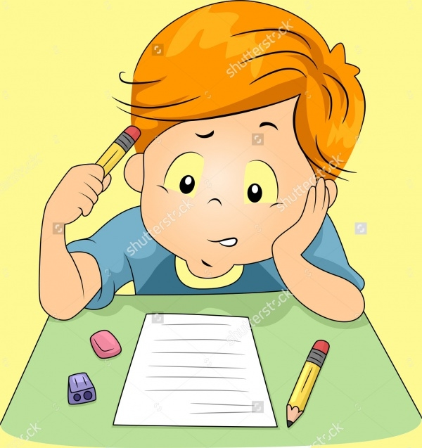 Kid Answering Test Questions Illustration