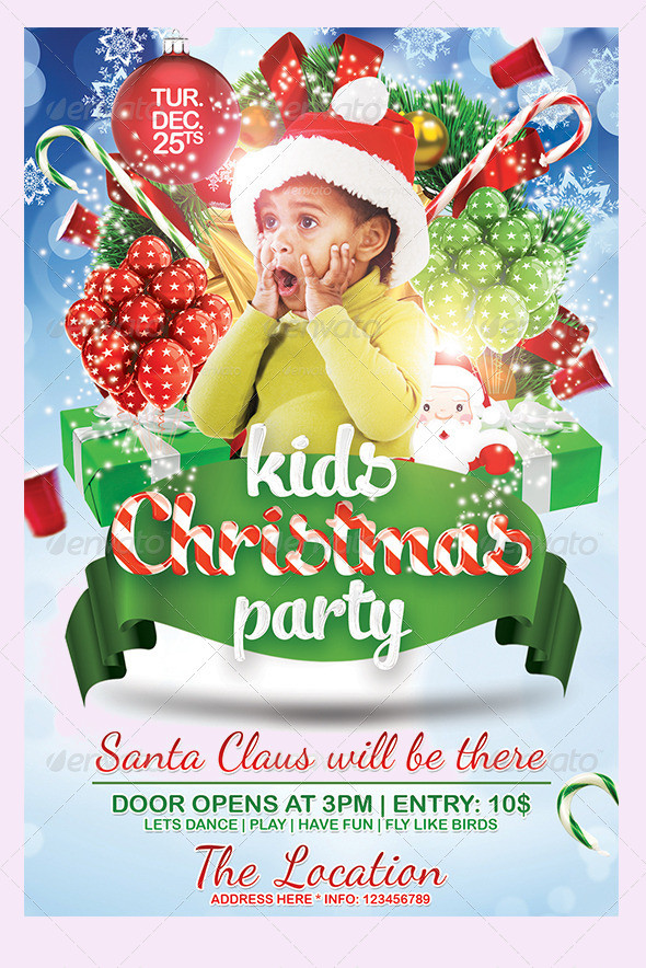 Kids Christmas Surprise Party Invitation