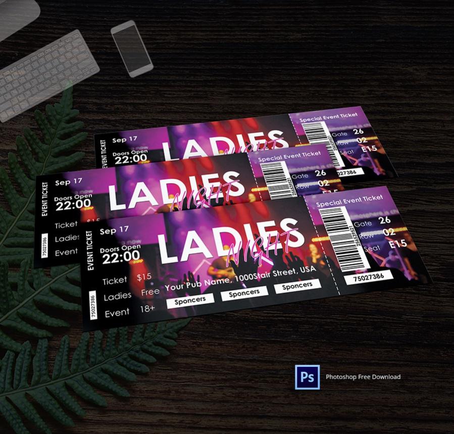 Ladies Night Party Ticket Invitation