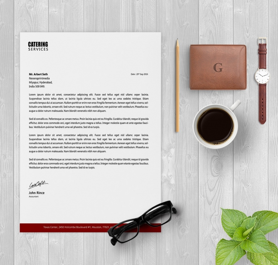 letterhead template for catering services