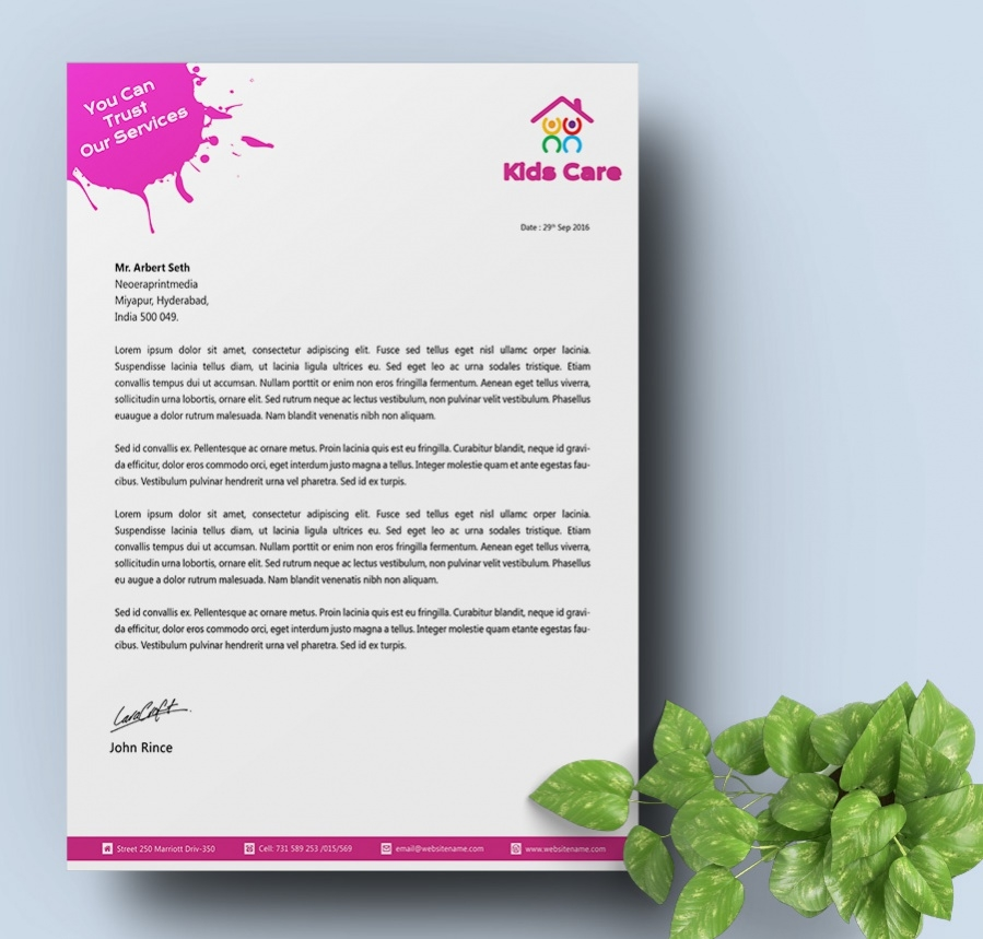 letterhead template for daycare