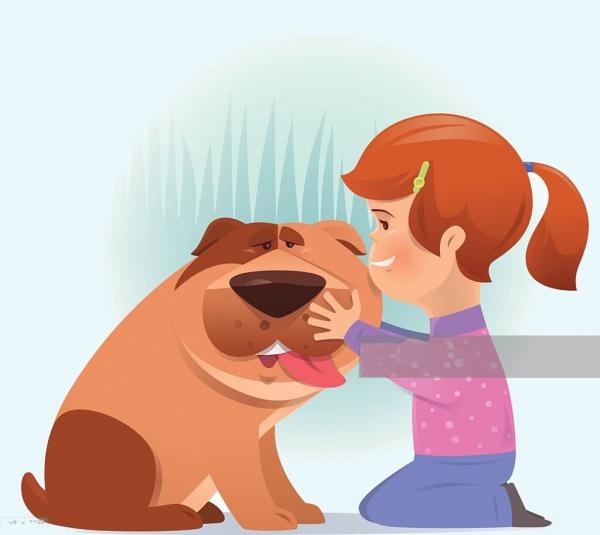 Little Girl & Dog Cartoon Clip Art