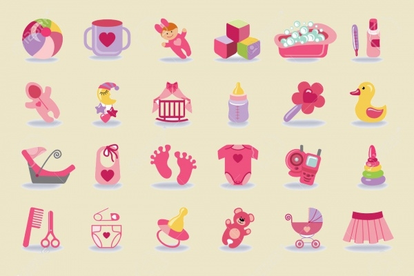 Long Shadow Baby Shower Icons