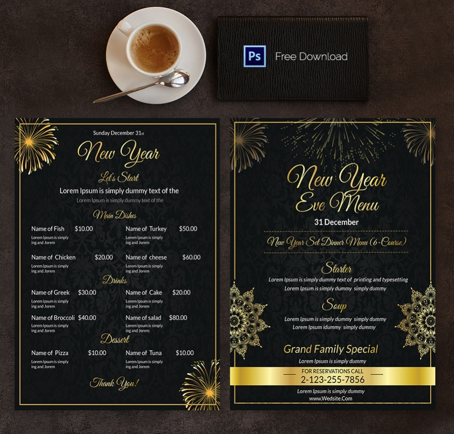 menu template for happy newyear
