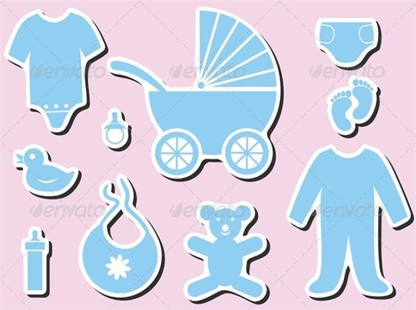 Minimal Baby Shower Icon Set