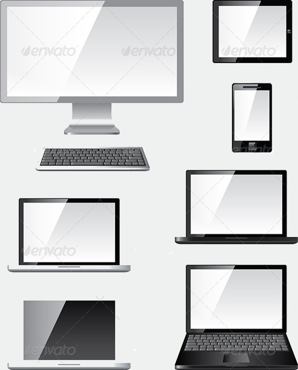 Modern Computer Illustration Vector