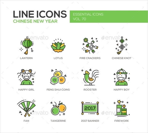 Modern New Year Icons
