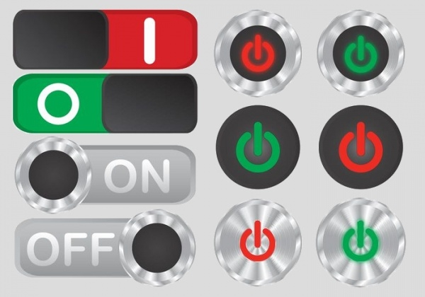 Modern on off button vector