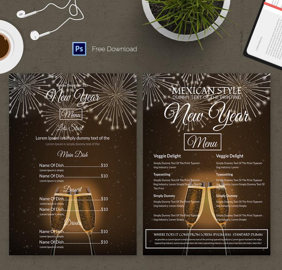 new year celebration menu template